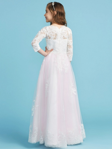 Princess / A-Line Crew Neck Floor Length Lace Junior Bridesmaid Dress With Lace_2