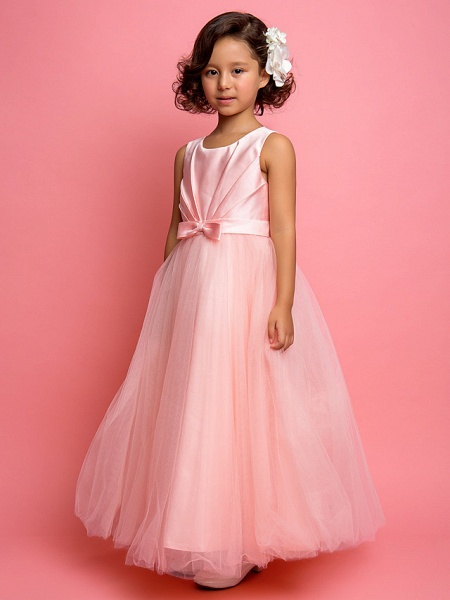 Princess / A-Line Ankle Length Satin / Tulle Sleeveless Jewel Neck With Sash / Ribbon / Bow(S) / Side Draping_2