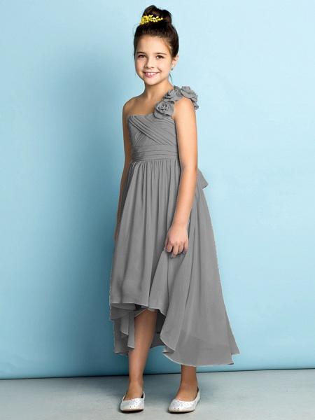 A-Line One Shoulder Asymmetrical Chiffon Junior Bridesmaid Dress With Criss Cross / Flower / Natural / Mini Me_28