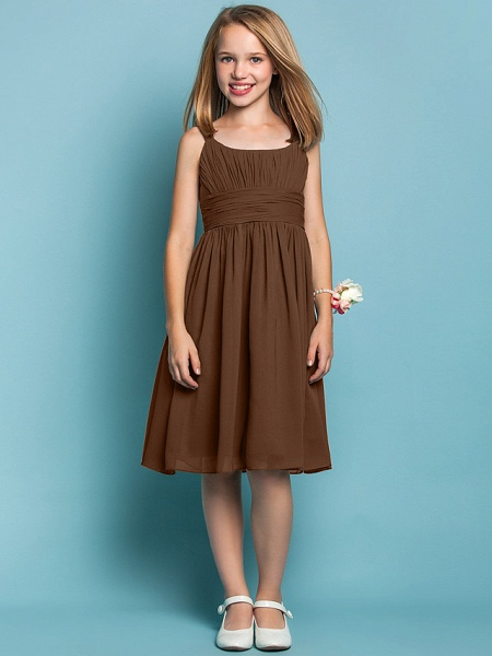 Sheath / Column Straps Knee Length Chiffon Junior Bridesmaid Dress With Ruched / Draping / Spring / Summer / Fall / Apple / Hourglass_22