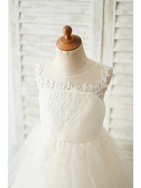 Ball Gown Knee Length Wedding / Birthday Flower Girl Dresses - Lace / Tulle Sleeveless Jewel Neck With Buttons / Appliques_3
