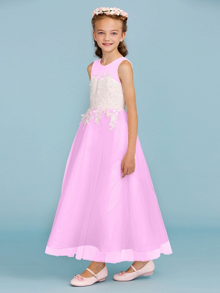 Princess / A-Line Jewel Neck Ankle Length Lace / Tulle Junior Bridesmaid Dress With Sash / Ribbon / Appliques / Wedding Party / Open Back_24