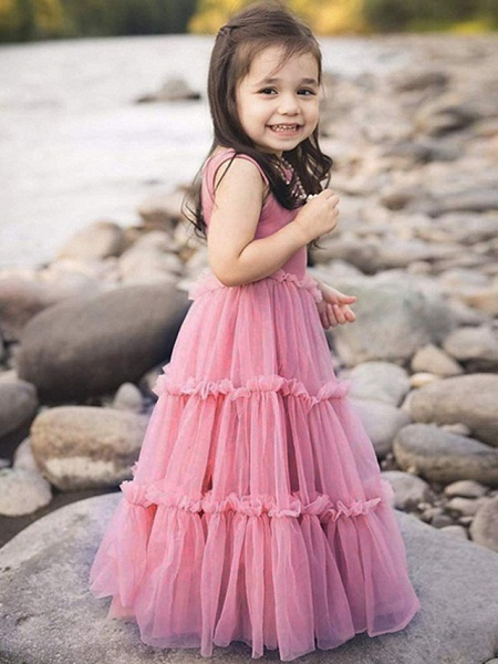 Ball Gown Floor Length Event / Party Flower Girl Dresses - Polyester Sleeveless Jewel Neck With Pattern / Print_4