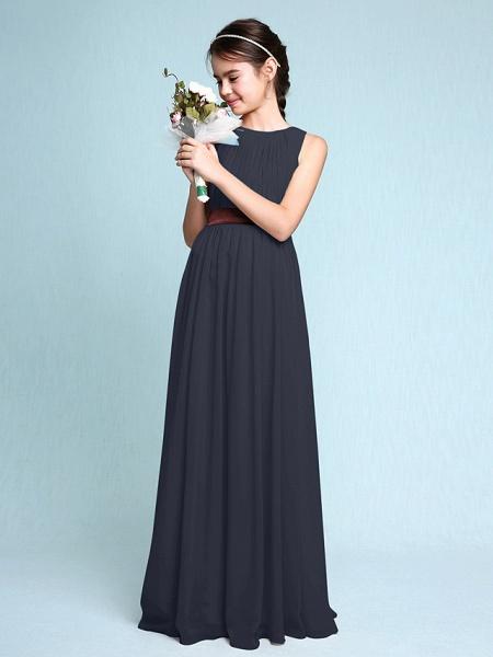 Sheath / Column Scoop Neck Floor Length Chiffon Junior Bridesmaid Dress With Draping / Natural_37