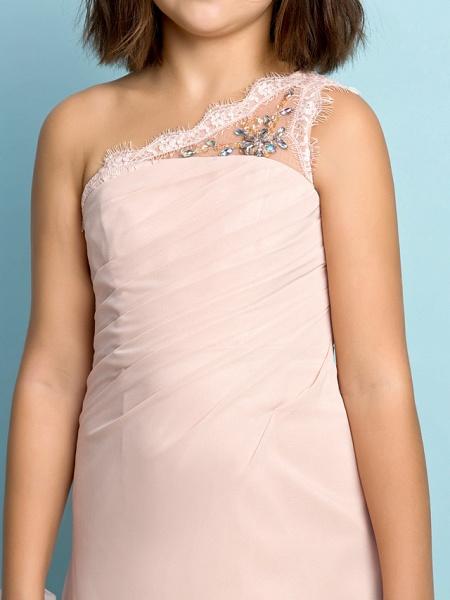 Princess One Shoulder Floor Length Chiffon Junior Bridesmaid Dress With Crystals / Side Draping / Natural / Mini Me_7