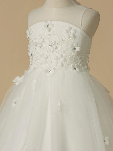 A-Line Floor Length Wedding / First Communion Flower Girl Dresses - Satin / Tulle Sleeveless Jewel Neck With Beading / Flower_4