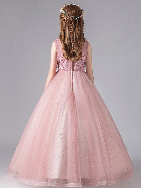 Princess / Ball Gown Floor Length Wedding / Party Flower Girl Dresses - Tulle / Polyester / Cotton Blend 3/4 Length Sleeve Jewel Neck With Appliques / Tiered_4