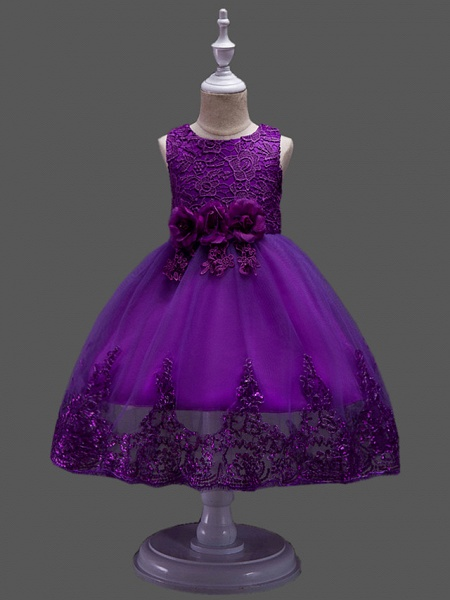 Princess Midi Wedding / Birthday Lace / Tulle Sleeveless Jewel Neck With Petal / Lace / Embroidery_7