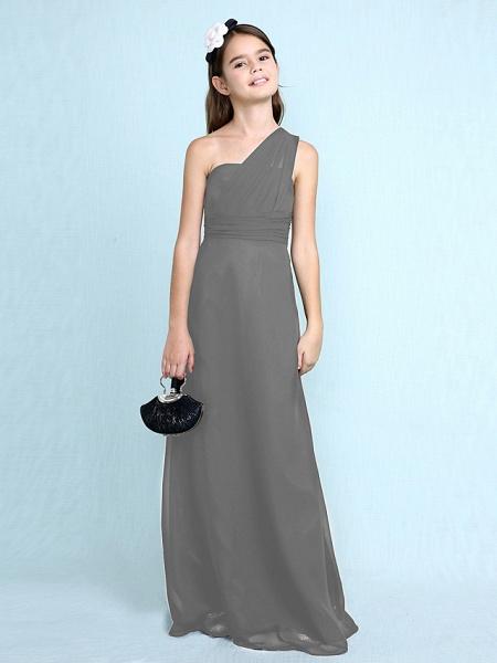Sheath / Column One Shoulder Floor Length Chiffon Junior Bridesmaid Dress With Side Draping / Natural_28