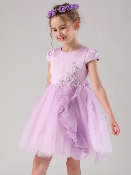 Princess / Ball Gown Medium Length Wedding / Event / Party Flower Girl Dresses - Satin / Tulle Cap Sleeve Jewel Neck With Embroidery / Appliques / Side Draping_8