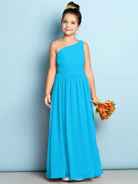 A-Line One Shoulder Ankle Length Chiffon Junior Bridesmaid Dress With Side Draping / Natural / Mini Me_31