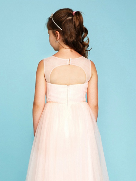 Princess / A-Line V Neck Floor Length Tulle Junior Bridesmaid Dress With Criss Cross / Crystals / Wedding Party_6