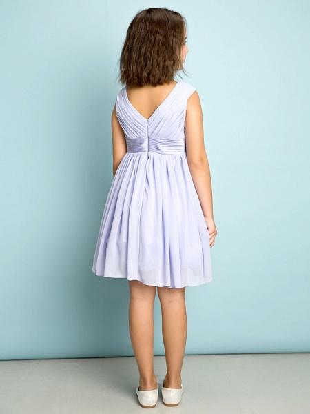 A-Line V Neck Knee Length Chiffon Junior Bridesmaid Dress With Bow(S) / Criss Cross / Natural_5