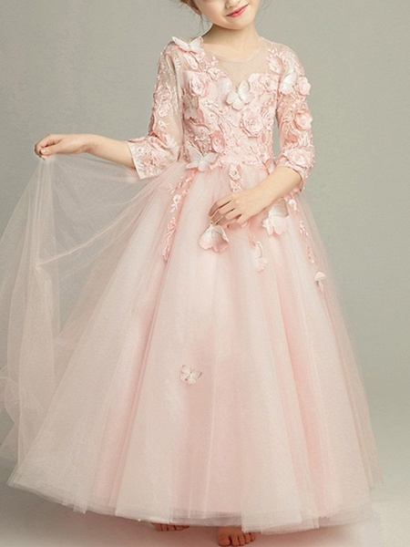 Ball Gown Floor Length Pageant Flower Girl Dresses - Tulle 3/4 Length Sleeve Jewel Neck With Beading / Appliques_2