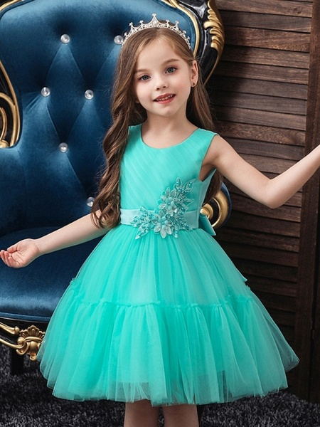 Princess / Ball Gown Knee Length Wedding / Party Flower Girl Dresses - Tulle Sleeveless Jewel Neck With Sash / Ribbon / Bow(S) / Appliques_2