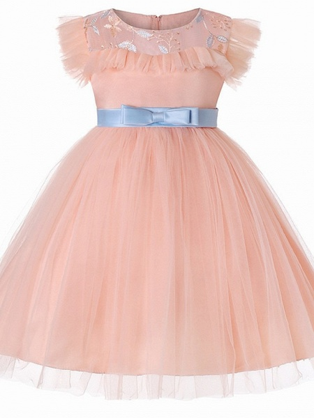Princess / Ball Gown Floor Length Wedding / Party Flower Girl Dresses - Tulle Short Sleeve Jewel Neck With Sash / Ribbon / Bow(S) / Embroidery_5