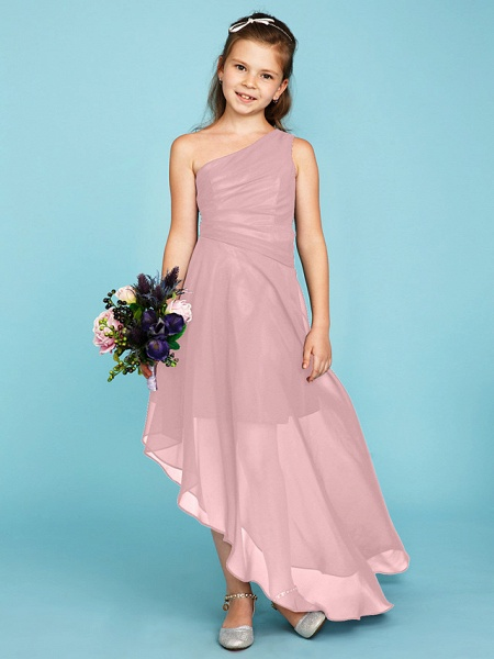 A-Line One Shoulder Asymmetrical Chiffon Junior Bridesmaid Dress With Side Draping / Wedding Party_19