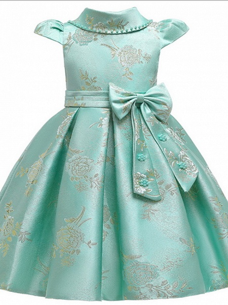 Ball Gown Ankle Length Pageant Flower Girl Dresses - Polyester Short Sleeve Jewel Neck With Bow(S) / Appliques_2