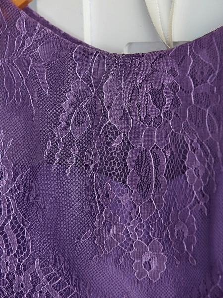 Two Piece / A-Line Crew Neck Maxi Chiffon / Lace Junior Bridesmaid Dress With Lace / Pleats_9