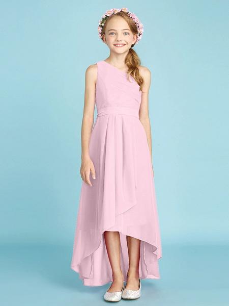 A-Line One Shoulder Asymmetrical Chiffon Junior Bridesmaid Dress With Sash / Ribbon / Bow(S) / Side Draping / Natural_13