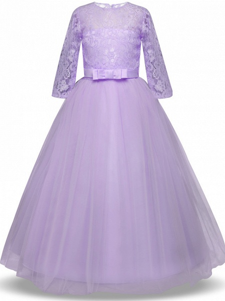 Princess Long Length Wedding / Party / Pageant Flower Girl Dresses - Lace / Tulle Half Sleeve Jewel Neck With Lace / Belt / Bow(S)_10