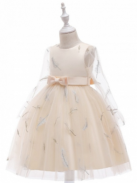 Princess / Ball Gown Knee Length Wedding / Party Flower Girl Dresses - Tulle Long Sleeve Jewel Neck With Sash / Ribbon / Bow(S) / Pattern / Print_6
