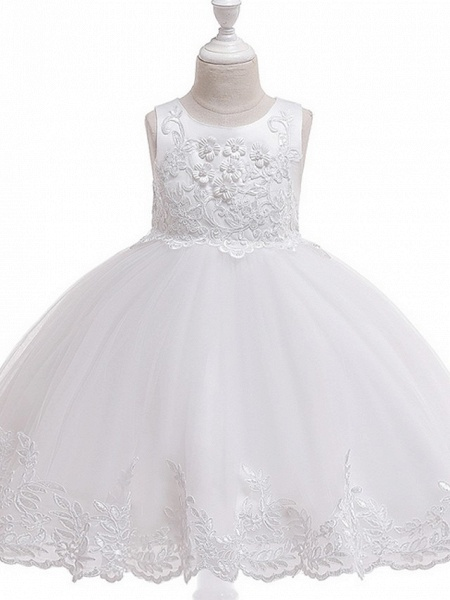 Ball Gown Knee Length Wedding / Party Flower Girl Dresses - Tulle Sleeveless Jewel Neck With Bow(S) / Appliques_8
