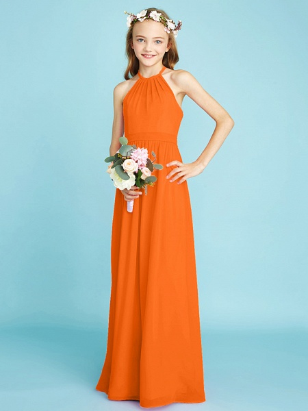 A-Line Halter Neck Floor Length Chiffon Junior Bridesmaid Dress With Sash / Ribbon / Natural_17