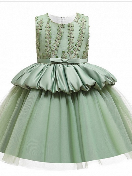 Ball Gown Ankle Length Pageant Flower Girl Dresses - Polyester Sleeveless Jewel Neck With Beading / Appliques_4