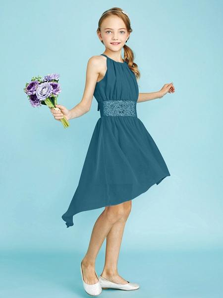 Sheath / Column Jewel Neck Asymmetrical Chiffon Junior Bridesmaid Dress With Sequin / Natural_47