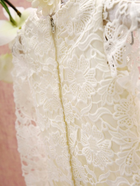 Sheath / Column Knee Length Holiday Flower Girl Dresses - Lace Long Sleeve Jewel Neck With Lace_6
