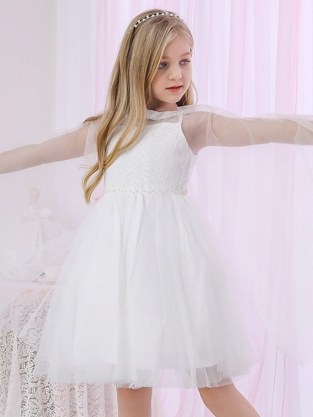 Princess / Two Piece / Ball Gown Medium Length Wedding / Event / Party Flower Girl Dresses - Lace / Satin / Tulle Sleeveless Jewel Neck With Pearls / Beading / Solid_4