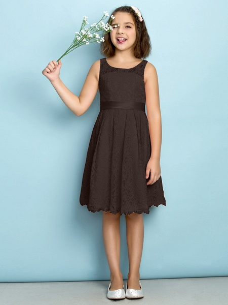 A-Line Scoop Neck Knee Length All Over Floral Lace Junior Bridesmaid Dress With Lace / Natural / Mini Me_23