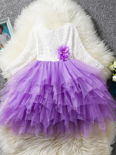 Princess / Ball Gown Floor Length Wedding / Party Flower Girl Dresses - Lace / Tulle Long Sleeve Jewel Neck With Bow(S)_3