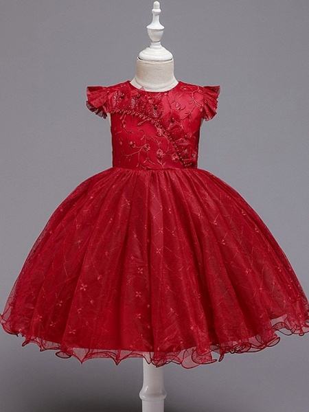 Princess / Ball Gown Knee Length Wedding / Party Flower Girl Dresses - Tulle Cap Sleeve Jewel Neck With Bow(S) / Embroidery_6