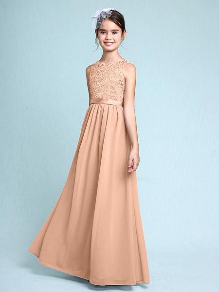 Sheath / Column Bateau Neck Floor Length Chiffon / Lace Junior Bridesmaid Dress With Lace / Natural_13
