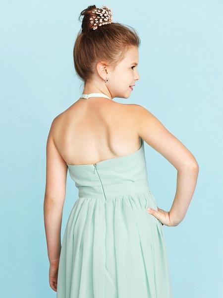 Princess / A-Line Halter Neck Floor Length Chiffon Junior Bridesmaid Dress With Sash / Ribbon / Pleats / Wedding Party / Open Back_7