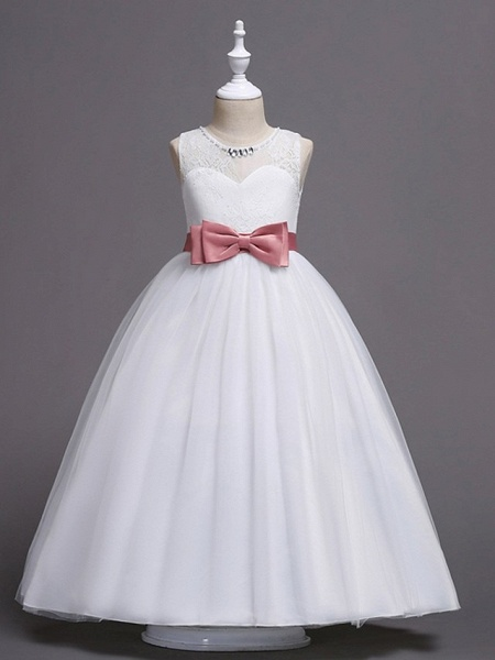 Princess / Ball Gown Floor Length Wedding / Party Flower Girl Dresses - Tulle Sleeveless Jewel Neck With Sash / Ribbon / Bow(S) / Embroidery_3