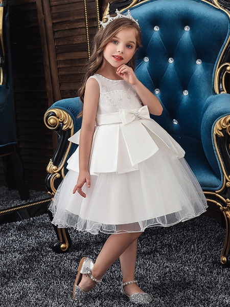 A-Line Knee Length Wedding / Party Communion Dresses - Tulle / Matte Satin / Poly&Cotton Blend Sleeveless Jewel Neck With Lace / Bow(S) / Beading_4