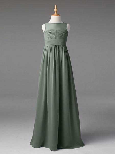 Princess / A-Line Jewel Neck Floor Length Chiffon Junior Bridesmaid Dress With Sash / Ribbon / Pleats_30
