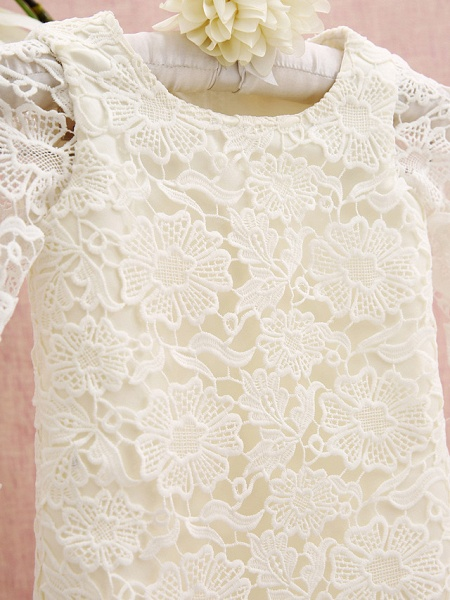 Sheath / Column Knee Length Holiday Flower Girl Dresses - Lace Long Sleeve Jewel Neck With Lace_4