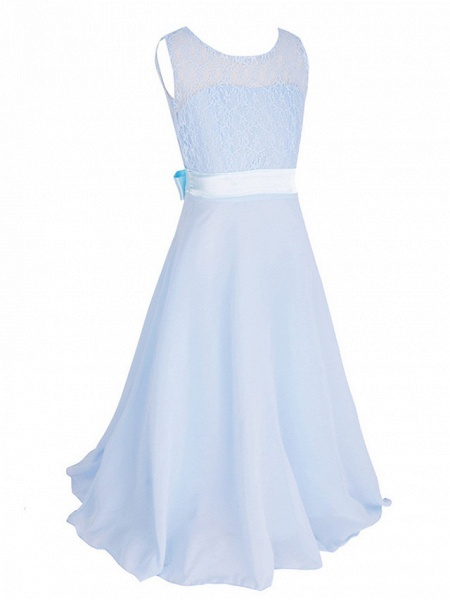 Princess / Ball Gown Maxi Party / Formal Evening / Pageant Flower Girl Dresses - Tulle / Poly&Cotton Blend Sleeveless Jewel Neck With Lace / Solid_2