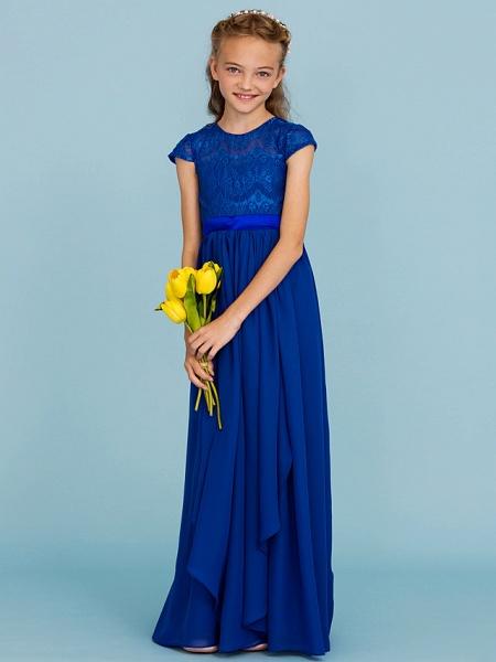 Princess / A-Line Crew Neck Floor Length Chiffon / Lace Junior Bridesmaid Dress With Sash / Ribbon / Bow(S) / Wedding Party_4