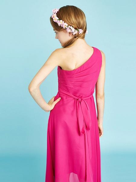 A-Line One Shoulder Asymmetrical Chiffon Junior Bridesmaid Dress With Sash / Ribbon / Bow(S) / Side Draping / Natural_9
