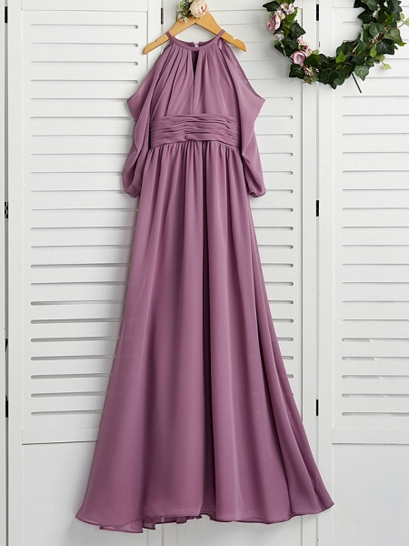 A-Line Crew Neck Floor Length Chiffon Junior Bridesmaid Dress With Ruching / Wedding Party_1