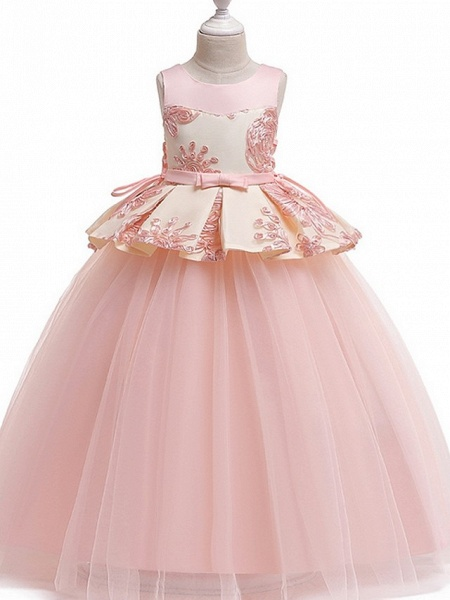 Princess Round Floor Length Cotton Junior Bridesmaid Dress With Bow(S) / Appliques