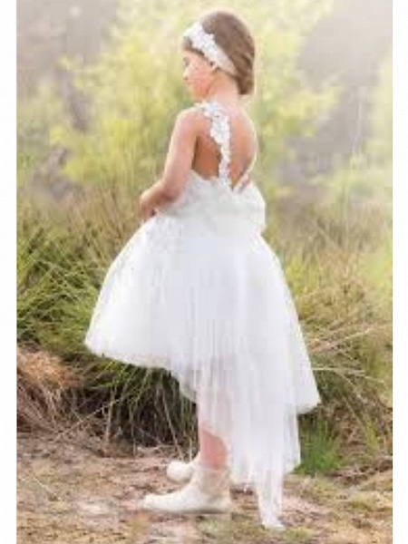 A-Line Asymmetrical Wedding Flower Girl Dresses - Tulle Sleeveless Jewel Neck With Solid_2