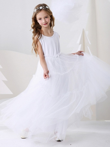 Ball Gown Floor Length Event / Party Flower Girl Dresses - Polyester Sleeveless Jewel Neck With Pattern / Print_3