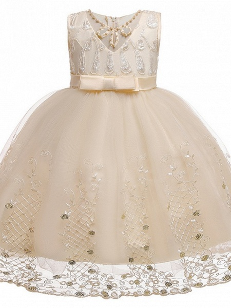 Princess / Ball Gown Knee Length Wedding / Party Flower Girl Dresses - Tulle Sleeveless Jewel Neck With Sash / Ribbon / Bow(S) / Beading_5