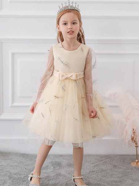Princess / Ball Gown Knee Length Wedding / Party Flower Girl Dresses - Tulle Long Sleeve Jewel Neck With Sash / Ribbon / Bow(S) / Pattern / Print_3